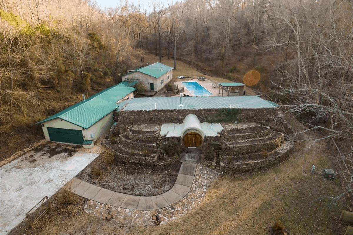 Aerial view of the Earth Ship House.