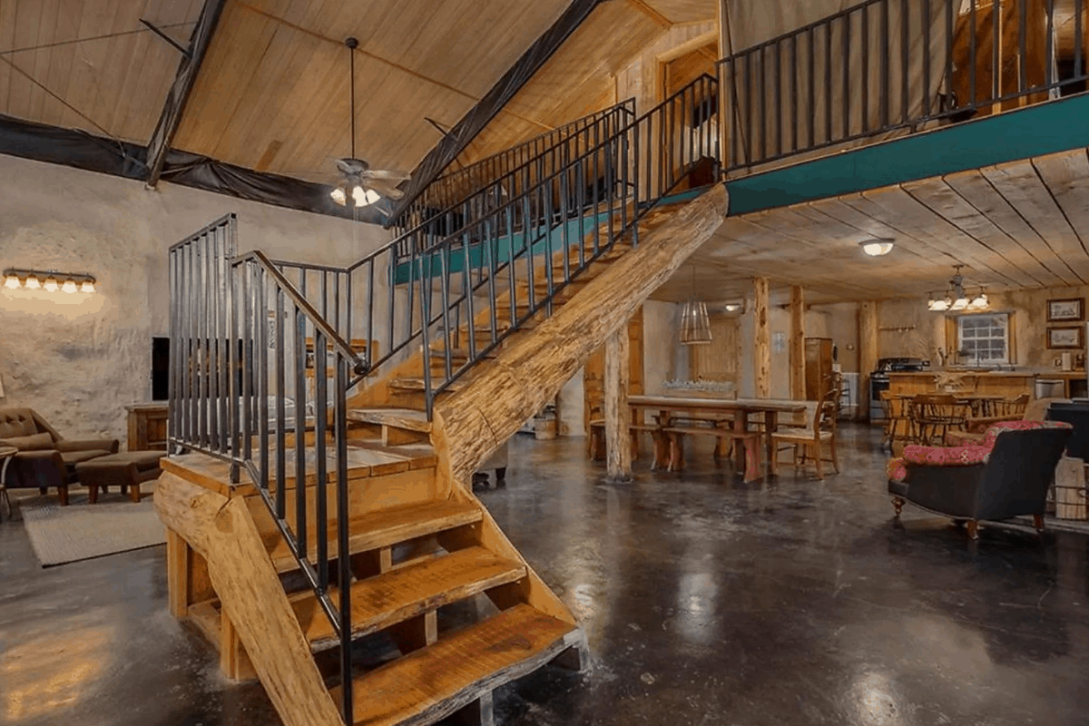Staircase in earth ship house in arkansas