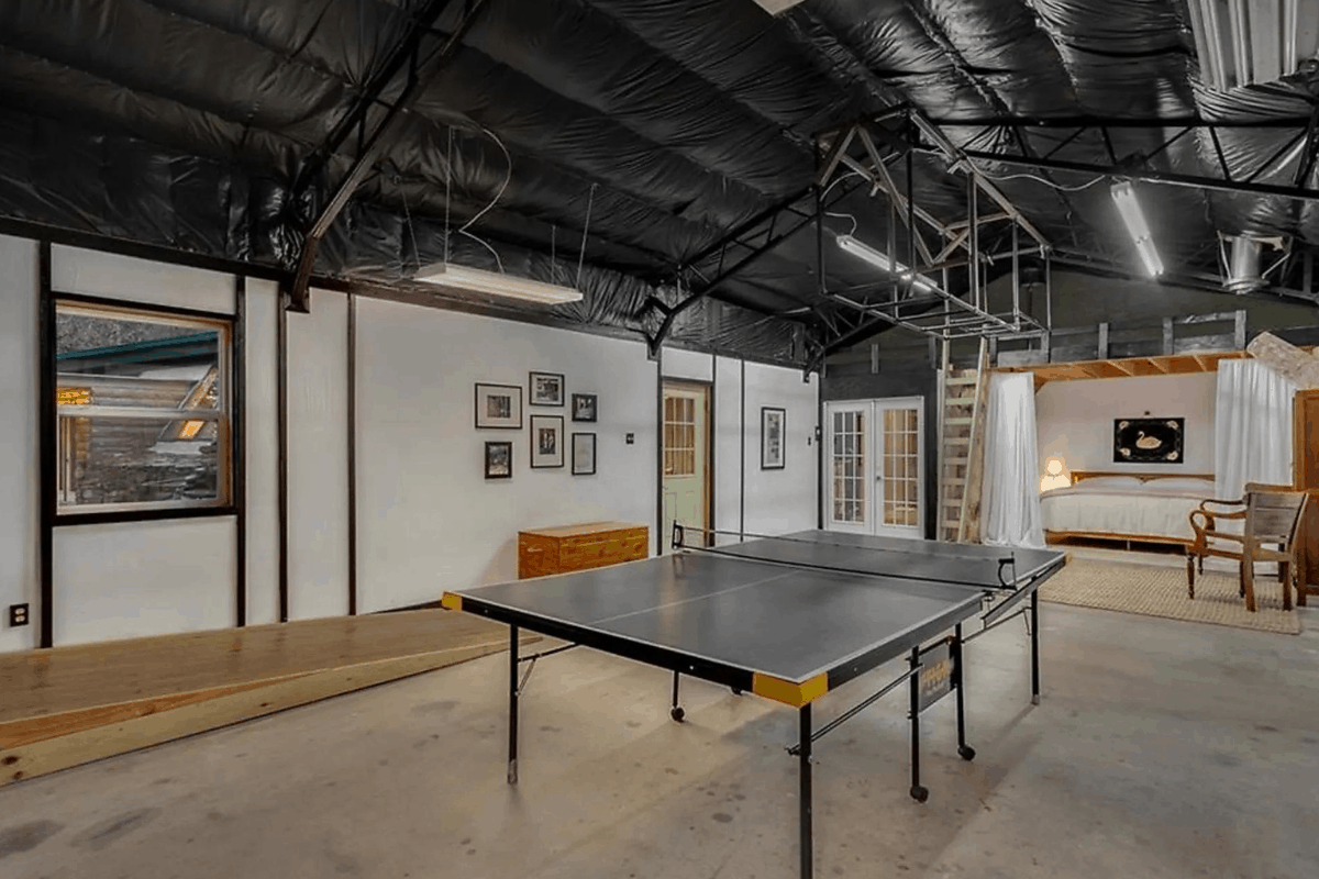 Game room in earth ship house in arkansas